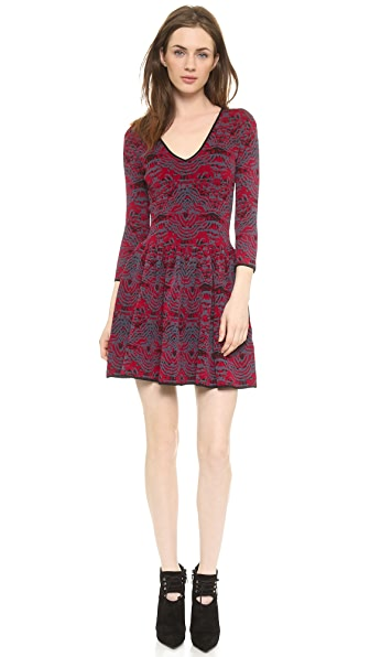 Marchesa Voyage V Neck Jacquard Dress