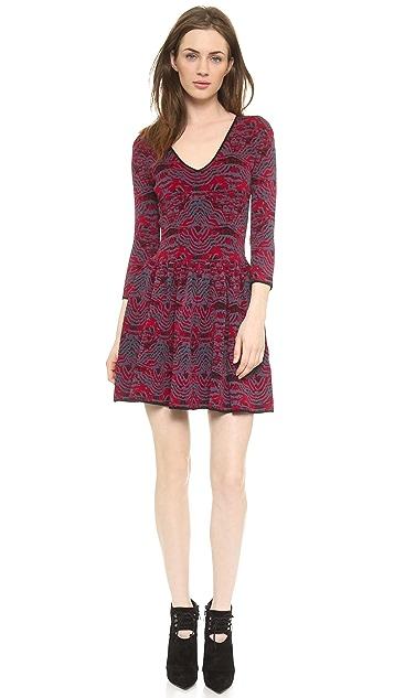 Marchesa Voyage V Neck Jacquard Dress