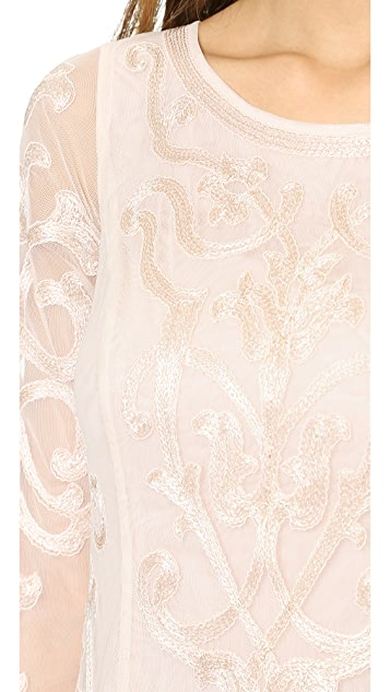 Marchesa Voyage Embroidered Swing Dress