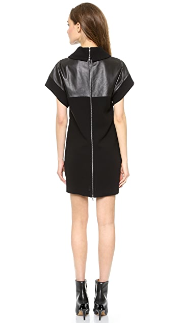 Marissa Webb Lenora Leather & Wool Mini Dress
