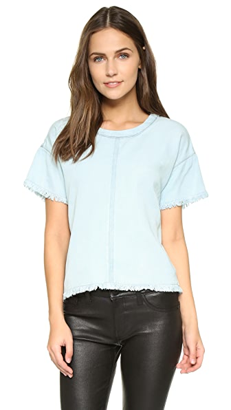 Maven West Allie Frayed Drop Shoulder Top