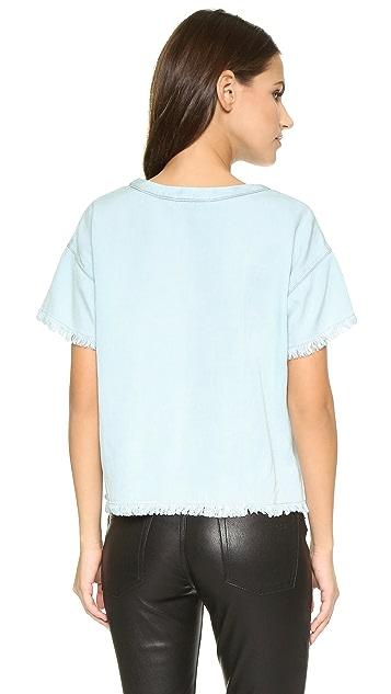 Maven West Allie Frayed Drop Shoulder Top