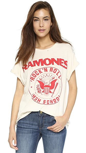 MADEWORN ROCK Ramones 1979 Rock Printed Tee - Dirty White
