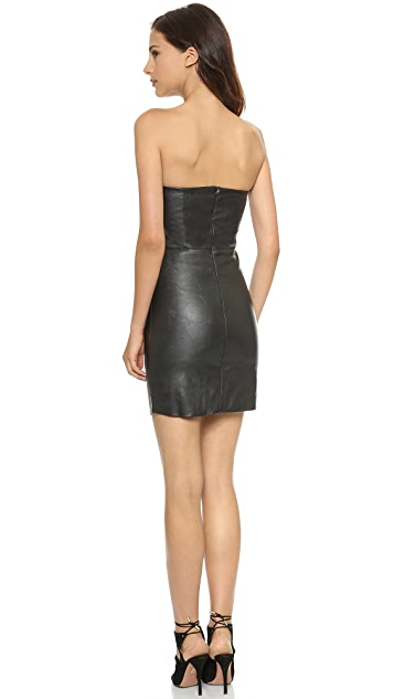 Myne Strapless Faux Leather Dress
