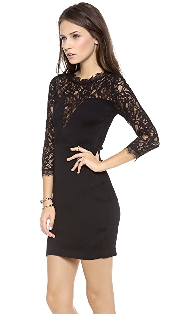 Myne Gala Pencil Dress with Lace Contrast