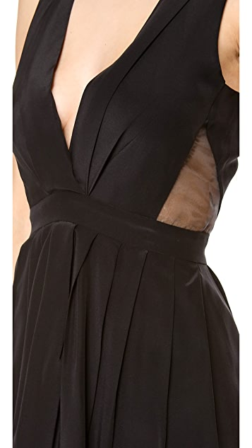 Myne Fern V Neck Dress with Sheer Cutouts