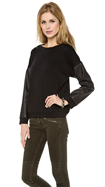 Myne Cartel Sweatshirt with Faux Leather Sleeves