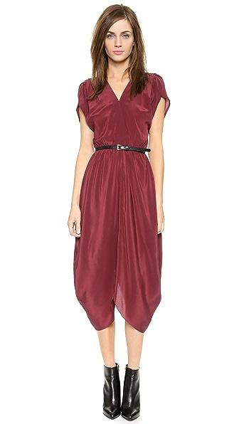 Myne V Neck Midi Dress with Belt