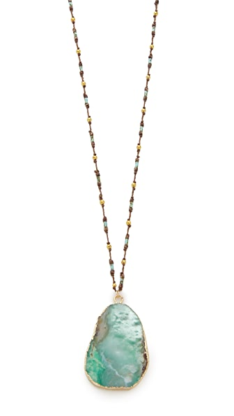 Native Gem Chrysoprase Handcrochet Necklace - Gold/Platine