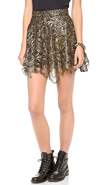 re:named Metallic Lace Skirt