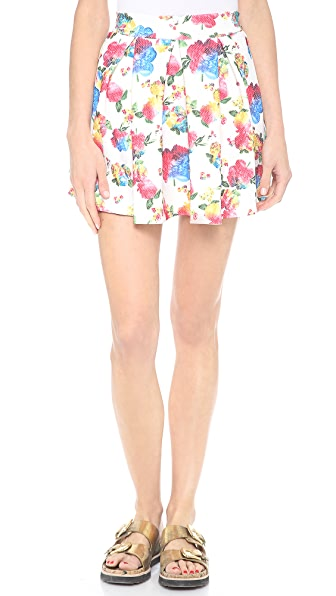 re:named Floral Print Waffle Skater Skirt