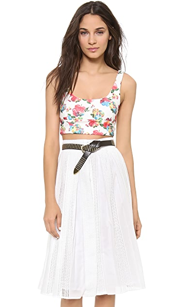 re:named Floral Waffle Crop Top