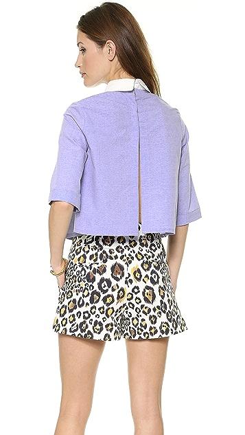 re:named 3/4 Sleeve Open Back Blouse
