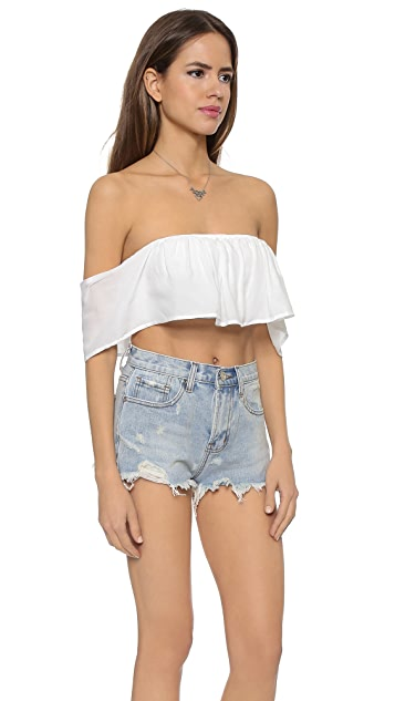 re:named Solid Off Shoulder Crop Top