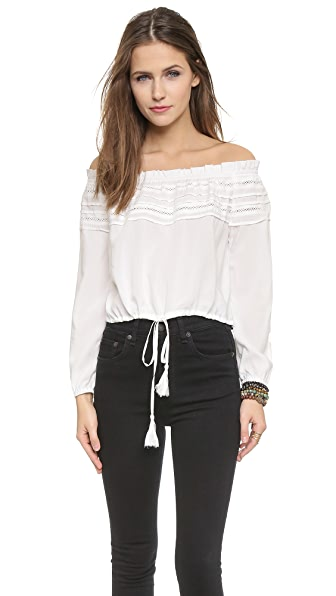 re:named Off Shoulder Tassle Top