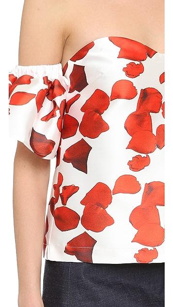 re:named Red Petals Off Shoulder Top
