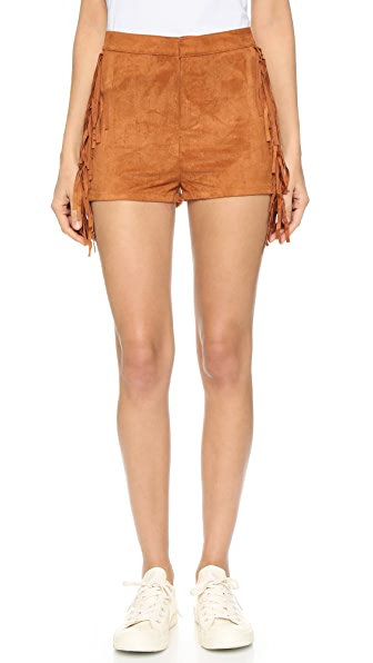 re:named Faux Suede Fringe Shorts