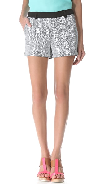 Nanette Lepore Sound Enamel Leather Shorts