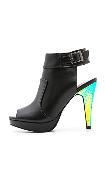 Nanette Lepore Manhunter Hologram Heel Booties