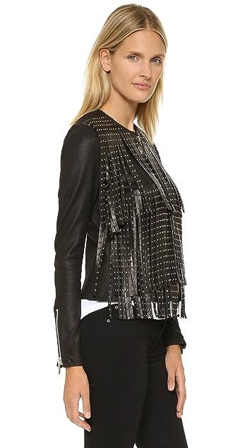 Nour Hammour Prologue Fringe Leather Jacket