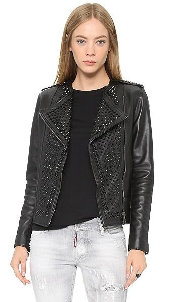Nour Hammour Erin Studded Leather Jacket