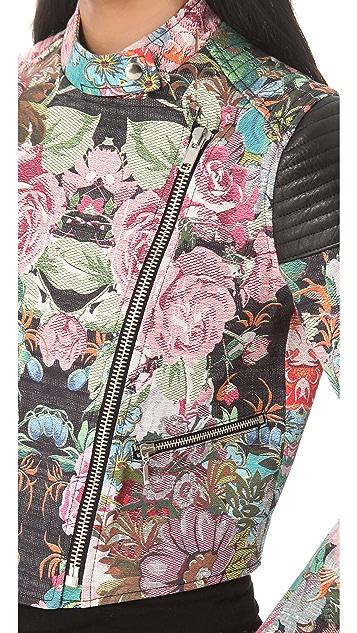 Nicholas Tapestry Print Denim Moto Jacket