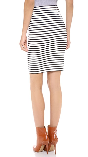 Nicholas Stripe Zip Pencil Skirt