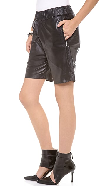 Nicholas Leather Drop Crotch Shorts