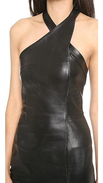 Nicholas Leather Wrap Neck Dress