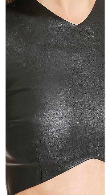 Nicholas Leather Crop Top