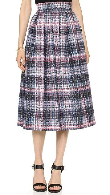 Nicholas Digital Check Silk Pleat Skirt