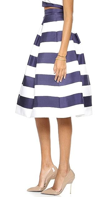 Nicholas Navy Stripe Silk Ball Skirt