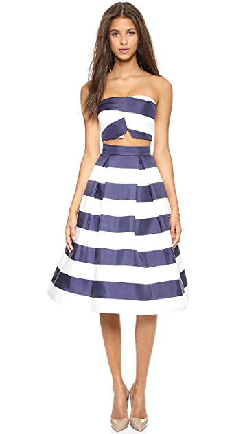 Nicholas Navy Stripe Silk Ball Skirt
