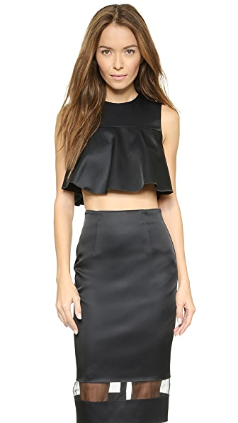Nicholas Techno Duchesse Flared Crop Top