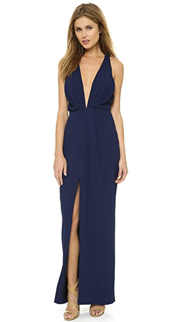 Nicholas Crepe Deep V Gathered Gown