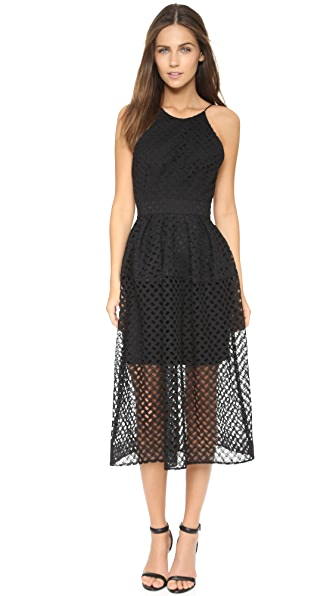 Shop Nicholas online and buy Nicholas Lattice Lace Tuck Ball Dress Black dresses online