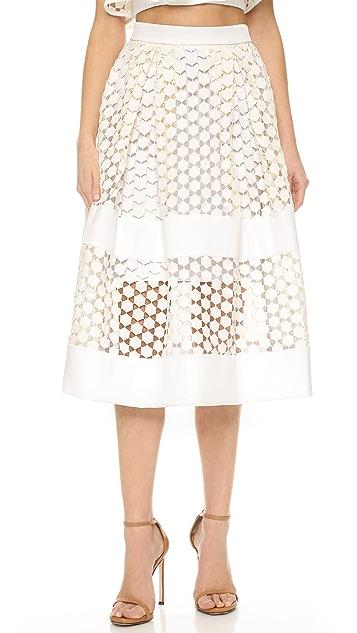 Nicholas Geo Lace Paneled Ball Skirt