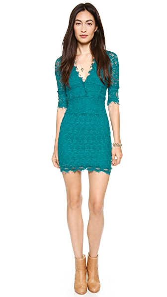 Nightcap Clothing Florence Lace Deep V Dress with 3/4 Sleeves