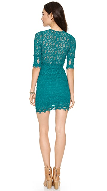 Nightcap x Carisa Rene Florence Lace Deep V Dress with 3/4 Sleeves