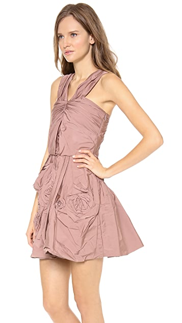 Nina Ricci Ruched Cocktail Dress with Flower Skirt