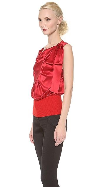 Nina Ricci Satin Draped Top with Shoulder Bow