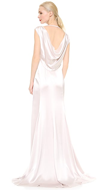 Nina Ricci Satin Cowl Neck Gown