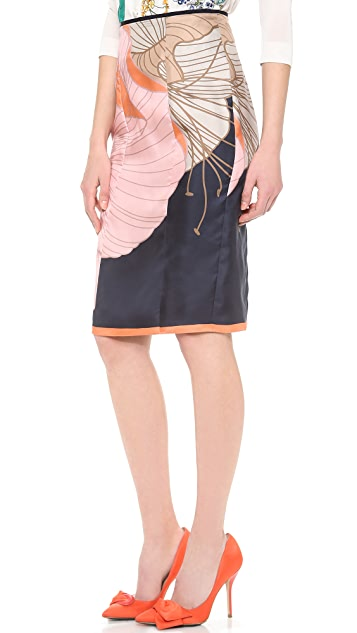 Nina Ricci Silk Printed Skirt