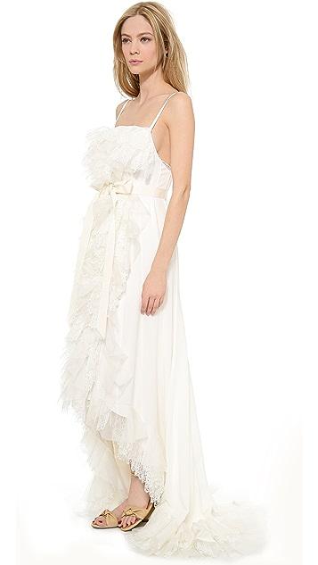 Nina Ricci Tiered Ruffle Gown