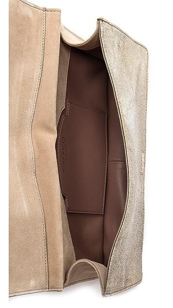 Nina Ricci Metallic Leather Clutch