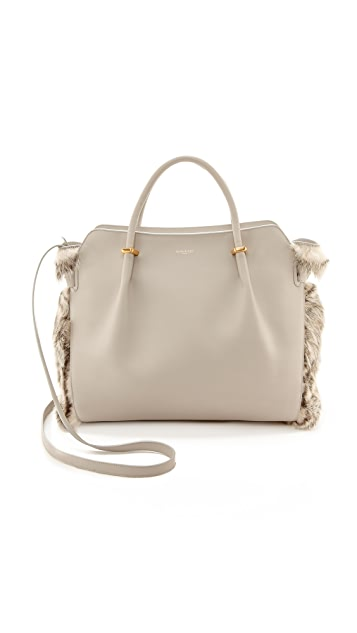 Nina Ricci Leather Handbag with Fur