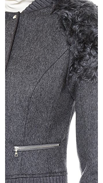 Nina Ricci Wool & Faux Fur Jacket
