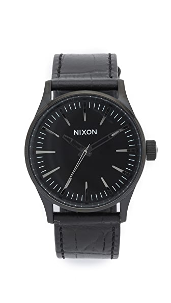 Nixon Sentry 38 Watch with Leather Strap