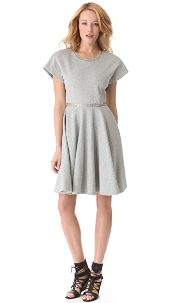 Norma Kamali Short Sleeve Flared Dress
