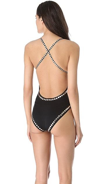 Norma Kamali Slip Mio Studded One Piece Swimsuit